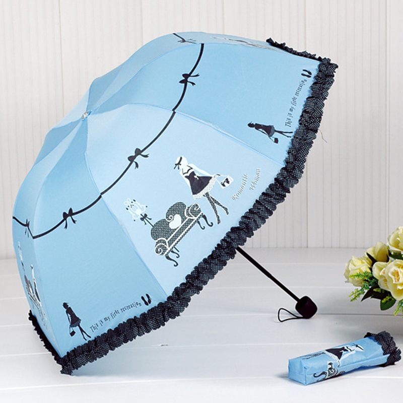2018 New Arrival Beautiful Girl Pattern Umbrella Rain Women Fashion Arched Princess Umbrellas Female Parasol Creative Gift US041