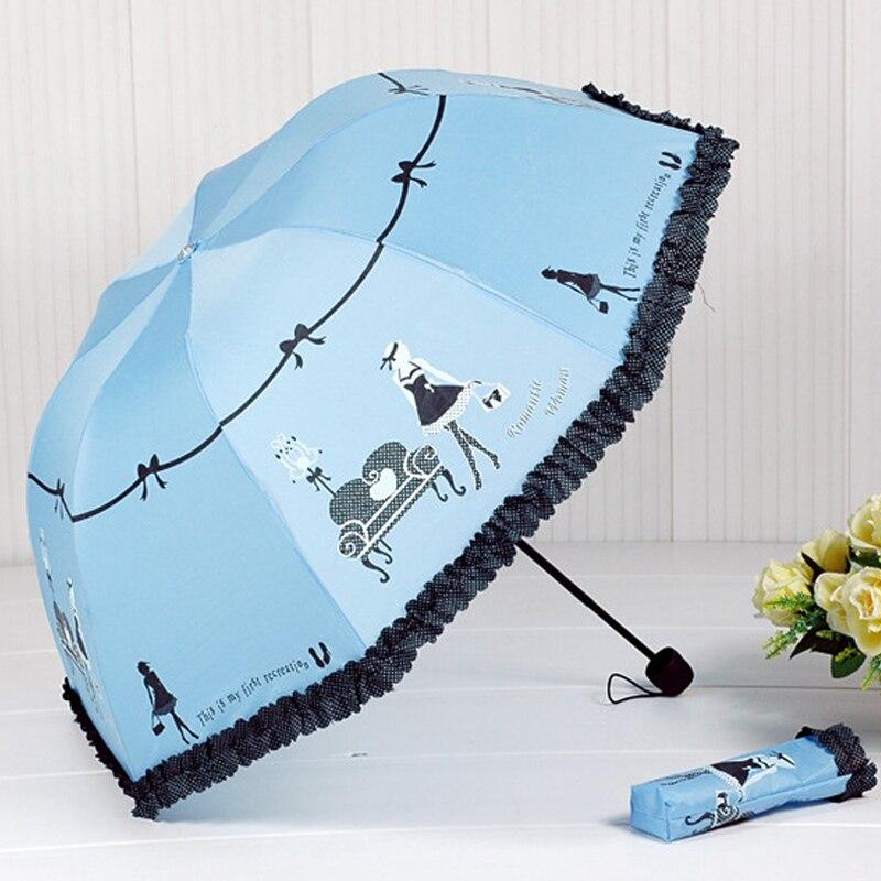 2018 nueva llegada hermosa chica patrón paraguas de lluvia de moda de las mujeres arco princesa paraguas mujer Parasol regalo creativo US041