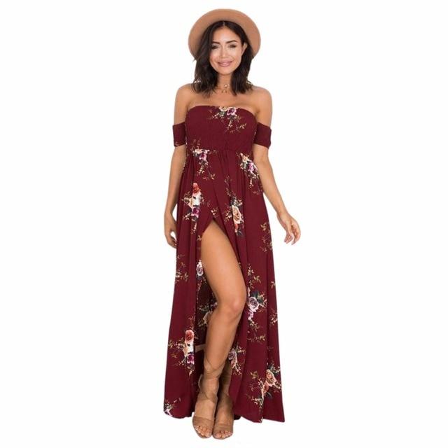 349785535cd7 Women Boho Long Dress 2017 Summer Off Shoulder Beach Dresses Floral Print  Vintage Asymmetrical Maxi Dress Vestidos De Festa