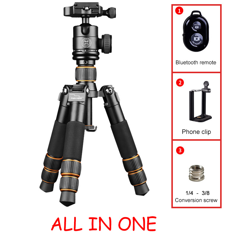 Qingzhuangshidai Universal Mini Tripod  Desktop  Handle Stabilizer For Mobile Phone Camera With Cell Phone Holder professional retractable handheld shooting tripod stabilizer rig for dlsr dv mobile phone