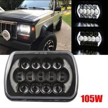 1 pc 105 W 5X7 7X6 inç Dikdörtgen Mühürlü Kiriş LED Far Ile DRL için Jeep wrangler YJ Cherokee XJ H6014 H6052 H6054 LED
