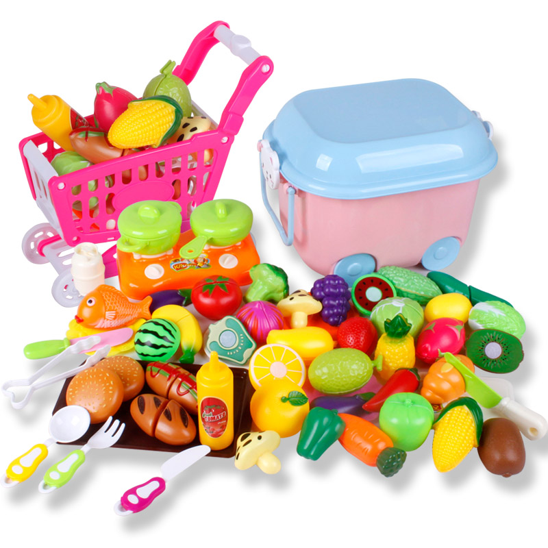 Classic toys for children pretend play set kids kitchen toys cutting fruit vegetable storage basket cart pan roll playing game