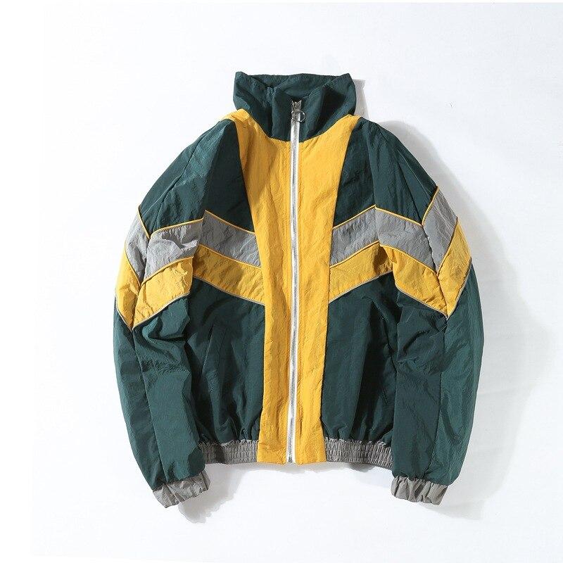 Vintage Multicolor Color Block Patchwork Windbreaker Jackets Spring Autumn Hip Hop Streetwear Zip Up Track Casual Jackets,6614