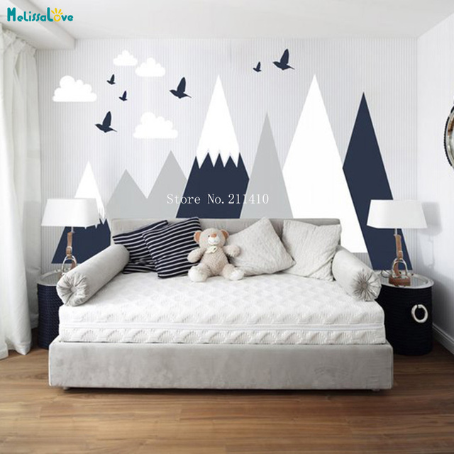 three colors mountain vinyl wall sticker decals home decor for kids