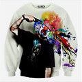 free shipping women men printed The starry sky horned cat 3d Hoodies Sweatshirts High quality Pullover Personality sweatshirt
