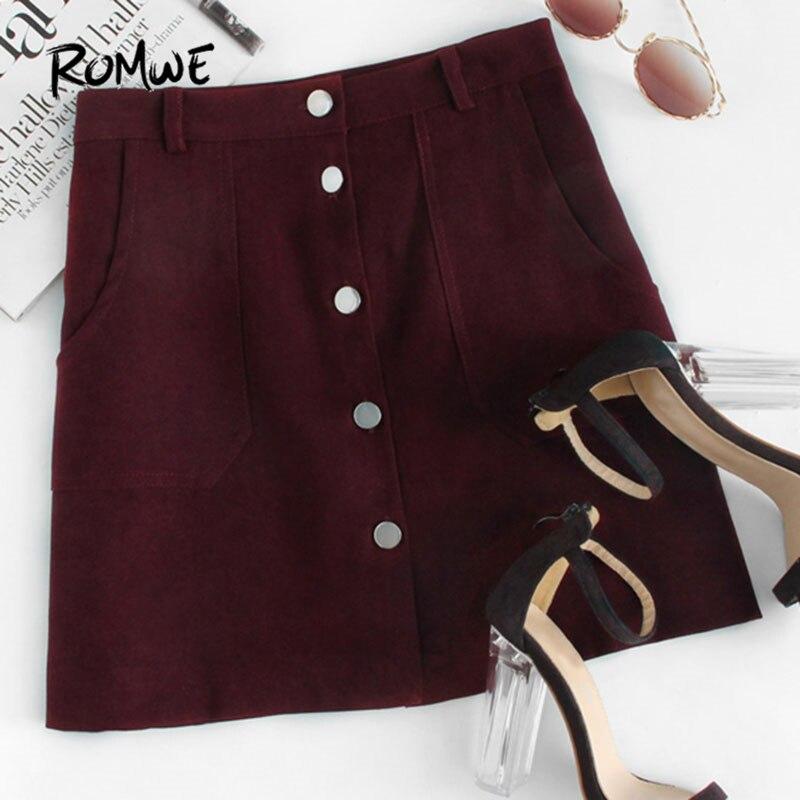 f68373ae13791 € 15.08  ROMWE simple boutonnage double poche jupe printemps été plaine  bordeaux a ligne Mini jupe femmes mi taille bouton jupe décontractée ...