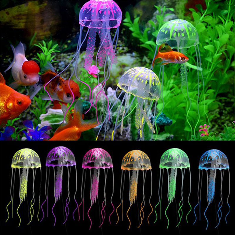 1Pcs Lovely Silicone Artificial Jellyfish Style Swim Glowing Effect Fish Tank Aquarium Decoration Accessorie Random Color