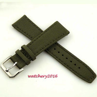 22mm Green olive Stainless steel buckle Strap fit parnis automatic watch