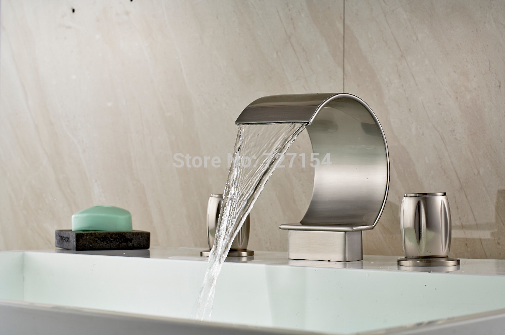 Free Shipping! New C Curved Nickel Brushed Basin Faucet Waterfall Sink Mixer Tap Dual Handles стоимость