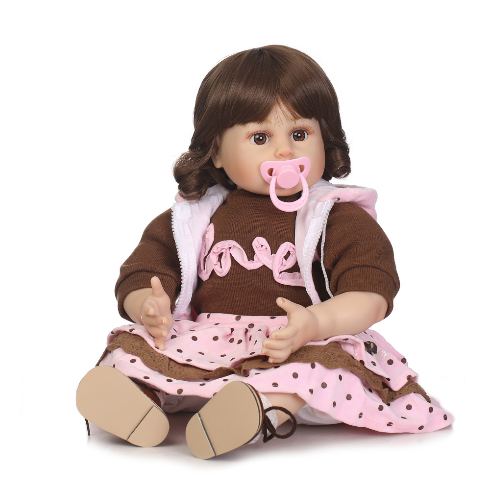 Nicery 20-22inch 50-55cm Bebe Reborn Doll Soft Silicone Boy Girl Toy Reborn Baby Doll Gift for Children Brown Clothes Baby Doll nicery 18inch 45cm reborn baby doll magnetic mouth soft silicone lifelike girl toy gift for children christmas pink hat close