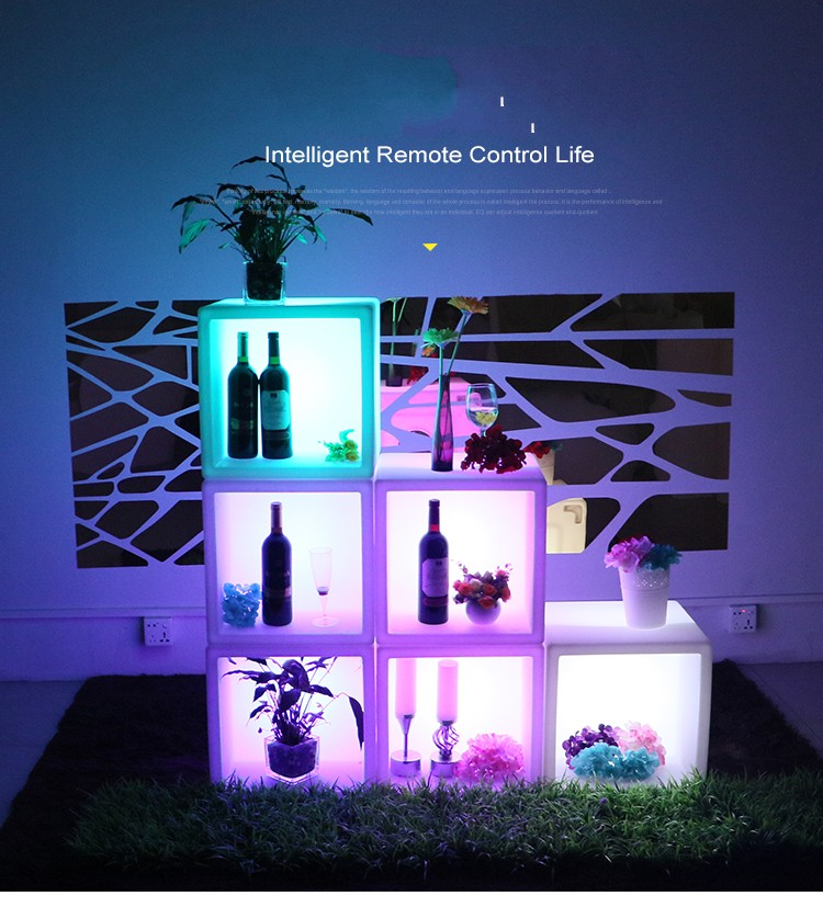 New Led Living Room Furniture Waterproof Led Display Case 40CMx40CMx40CM RGB Rechargeable Cocktail Cabinet For Bar KTV Disco