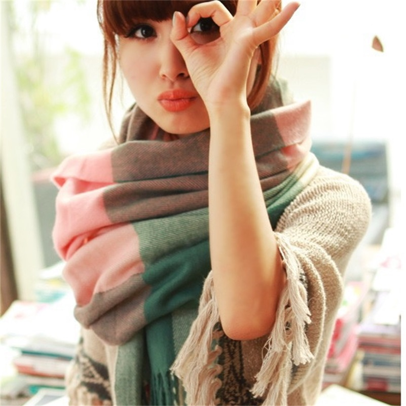 Fashion Wool Winter Scarf Women Spain Desigual Plaid Thick Brand Shawls and Scarves for