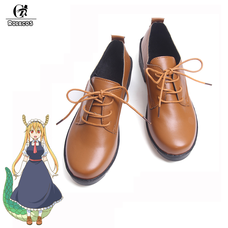 ROLECOS New Anime Kobayashi san Chi no Maid Dragon Cosplay Shoes Miss Kobayashi's Dragon Maid Tooru Color Brown Cosplay Shoes