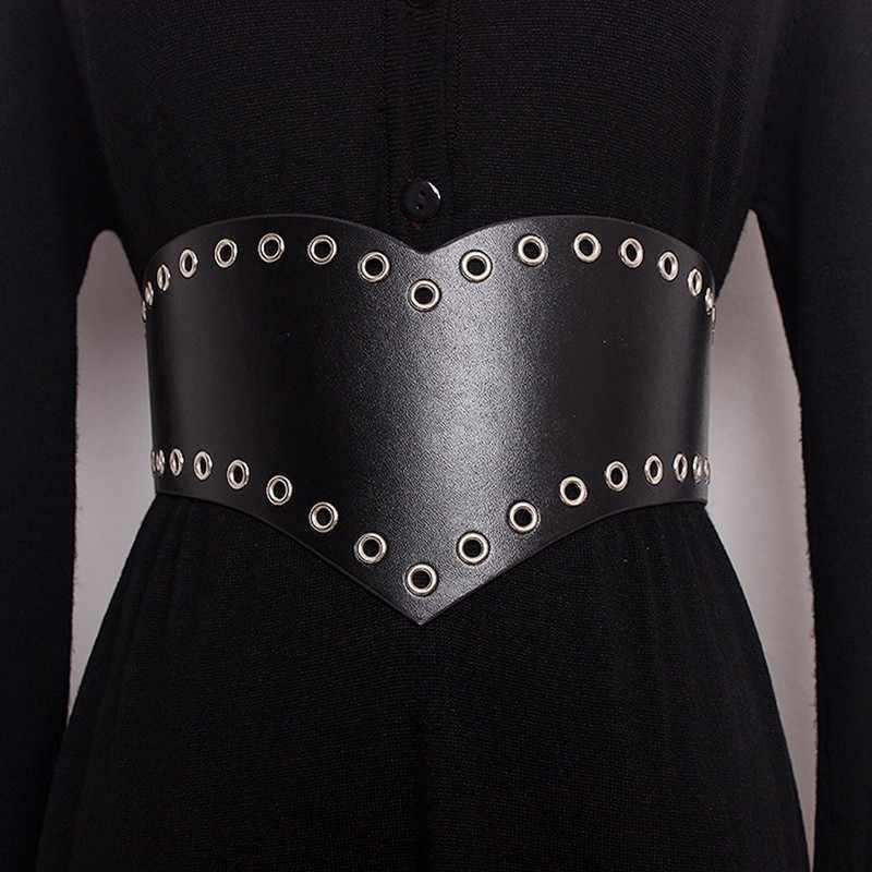 Galcaur pérolas cinto para mulher oco irregular cintura alta preto cintos largos verão outono moda acessórios do vintage