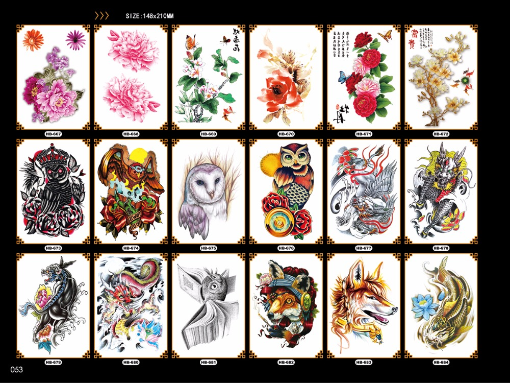 large nice floral sleeves temporary tattoo stickers owl dragon wolf pattern body leg chest stickers arm fake tattoo for women