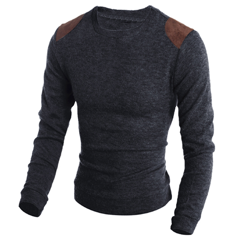 NIBESSER Autumn Winter Sweater Solid Color Leather Patch Design Men Pullover Casual Slim Fashion High Quality O Neck Sweater