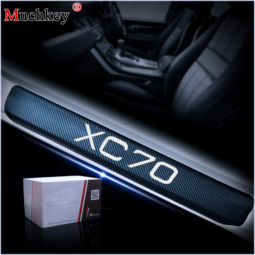 Car Door Sill Welcome Pedal Stickers For VOLVO XC70 Door Threshold Plate 4D Carbon Fiber Vinyl Sticker 4Pcs Auto Accessories