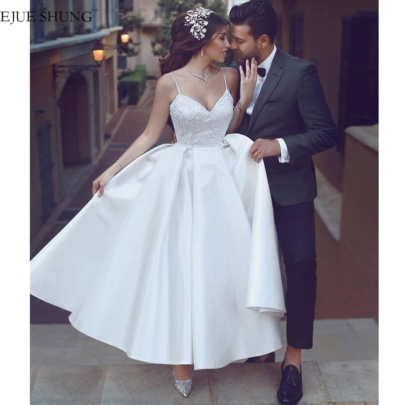 E JUE SHUNG White Satin Tea Length Short Wedding Dresses 2020 Spaghetti Straps Backless Cheap Wedding Gowns Bride Dresses