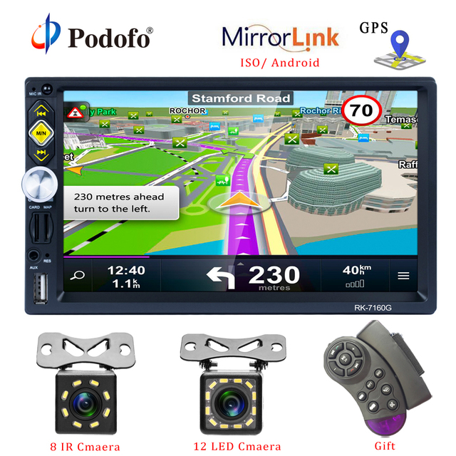 Podofo 2 din Universal Car Radio GPS Navigation 7 Touch Screen MP5 Player RDS Radio Car Stereo Support Android IOS Mirror Link