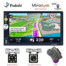 Podofo 2 din uniwersalne Radio samochodowe nawigacja GPS 7 ekran dotykowy odtwarzacz MP5 RDS Radio samochodowe stereo wsparcie android ios Mirror Link