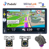 Podofo 2 din Universal Car Radio GPS Navigation 7'' Touch Screen MP5 Player RDS Radio Car Stereo Support Android IOS Mirror Link