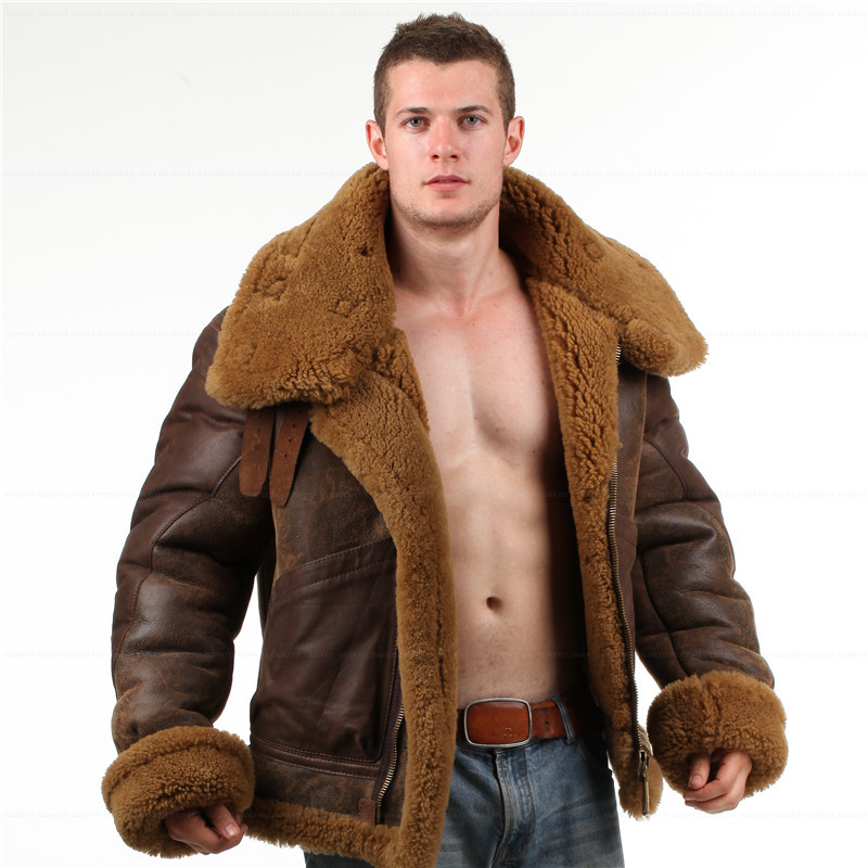 Mens sheepskin leather bomber jacket – Modern fashion jacket photo ...