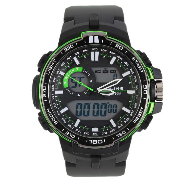 ALIKE Sports Military Date Time Rubber Men's Digital Watch 12/24 Hour Display Water Resistance/Calendar/Alarm Hot Selling