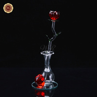 Sztuczne Unikalne Valentine Prezenty Czerwony walentynki Róża Gorąca Sprzedaż Początku Walentynki Kryształ Wzrosła z Podstawką dla prezenty