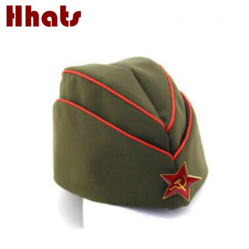 Qui dans la douche Russe marine cap rouge étoiles coton casquette de marin partie de danse stade badge capitaine militaire chapeau béret rouge armée vert