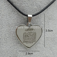 Anniyo Arabic Ayat al Kursi Prayer,Holy Quran Verse Quranic Heart Pendant Rope Stainless Steel,Islam Muslim Koran Jewelry 200721(China)