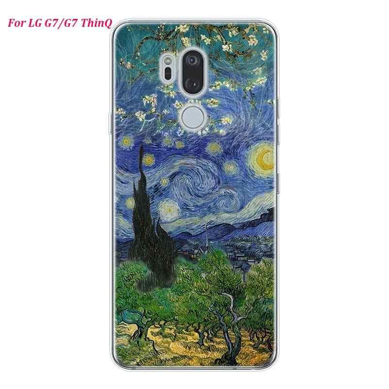 غطاء هاتف لين من السيليكون فان جوخ عباد الشمس لهاتف LG K50 K40 Q8 Q7 Q6 V50 V40 V35 V30 V20 G8 G7 G6 G5 ThinQ غطاء صغير