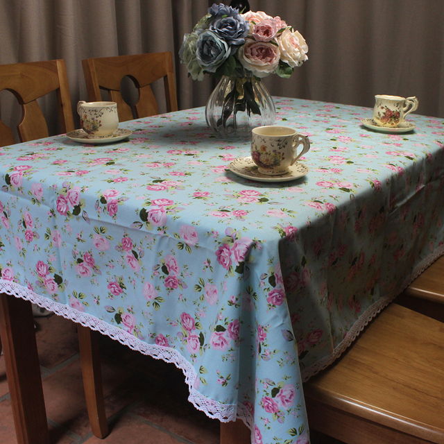CURCYA Rose Table Cloths for Tea Coffee Tables 100% Cotton Rectangle Square Lacy Table Cover Pastoral Romantic Style