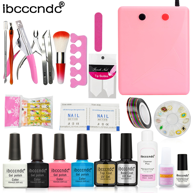 Nail Art Tools Kit 36W Pink UV Lamp Nail Dryer 4 Colors Gel Polish Base Top Coat Cleanser Liquid Remover Stickers Manicure Set розетка 2 местная с з со шторками hegel master слоновая кость