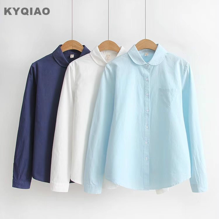 Women's Clothing Kyqiao White Shirt 2019 Mori Girls Autumn Winter Japanese Style Fresh Cute Long Sleeve Turn-down Collar Solid Blouse Blusa