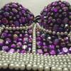 High Quality Handmade Sexy Strip Night Club Bra Top Crystal Rhinestone Embroidered Tank Top Jeweled Pearl
