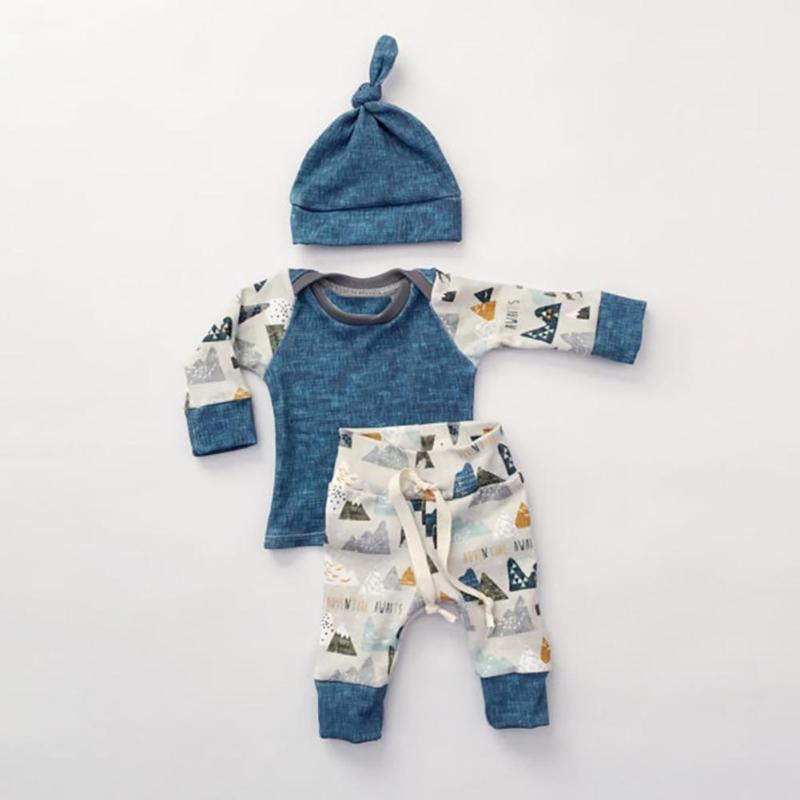 Baby Clothing Sets 2017 Spring Baby Boys Clothes Long Sleeve T-shirt+Pants+Hats 3Pcs Suits Children Clothing RA5-13H
