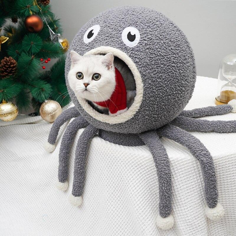 Calmar forme chat maison lits pour animaux de compagnie tapis pour animaux de compagnie petit chien et chat dormir nid chaud haute qualité coton