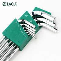 LAOA buena calidad 9 piezas S2 llave Hexagonal Allen llave de Socket Hexagonal juego llaves llave para la reparación de herramienta de mano conjunto