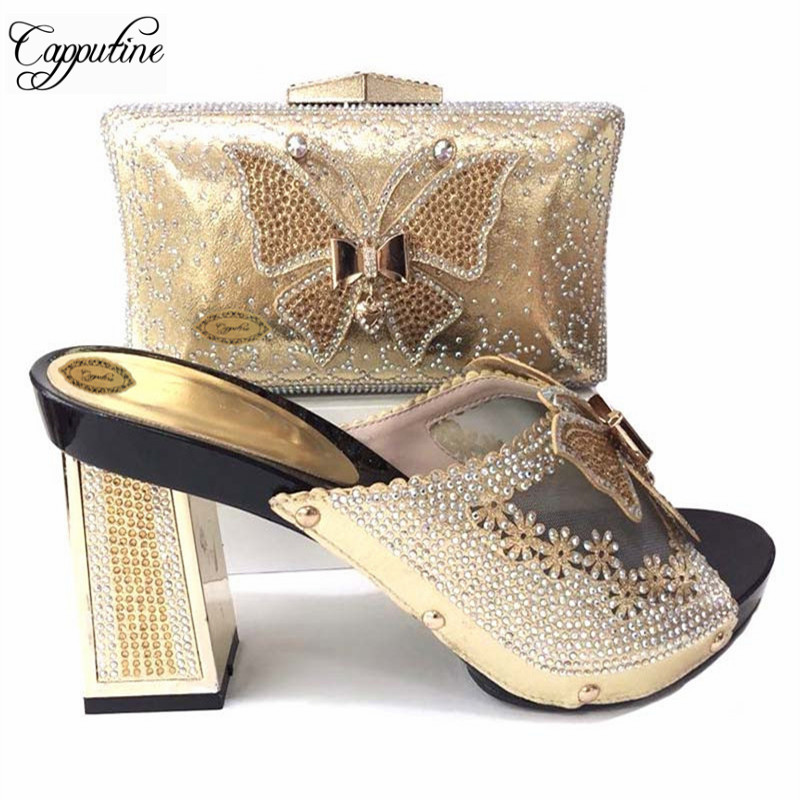 Capputine Latest Italian Ladies Party Shoes And Bag Set African Decorated With Rhinestone Slipper Shoes And Bags To Match Set все цены