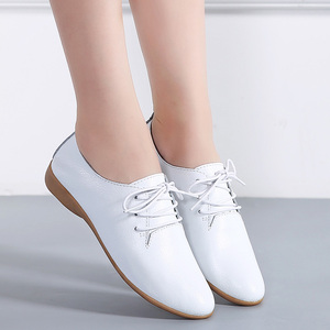 Image 3 - STQ 2020 Autumn Women Oxford Shoes Ballerina Flats Shoes Women Leather Shoes Ladies Lace Up Loafers Moccasins White Shoes 130
