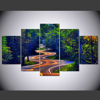 5 Panel Modern Natural Beauty Highway And Tree Hd Art Print Canvas Art Wall Framed Paintings
