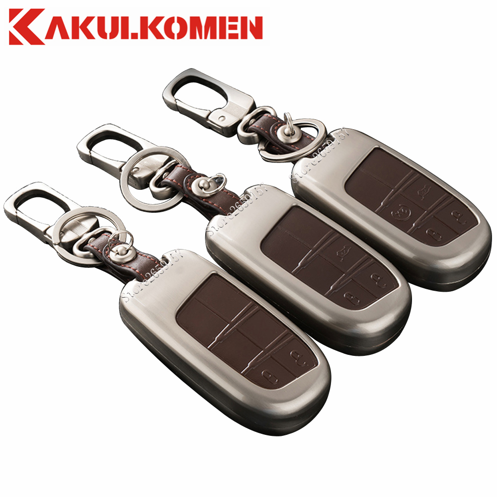 Zinc alloy leather protector holder car smart key fob case cover for jeep renegade cherokee dodge