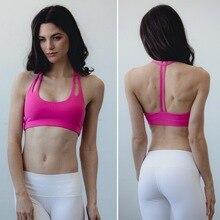 Women's light support  double -T back wirefree pad yoga spors bra  sexy sports bra