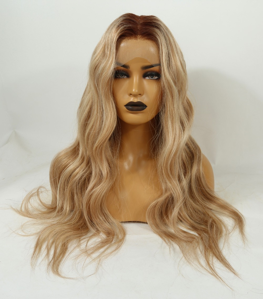 Image 2 - Fabwigs 150% Density T4/27/613 Blonde Full Lace Human Hair Wigs Brazilian Remy Ombre Highlights Lemi Color Lace Wigs Deep Part-in Human Hair Lace Wigs from Hair Extensions & Wigs