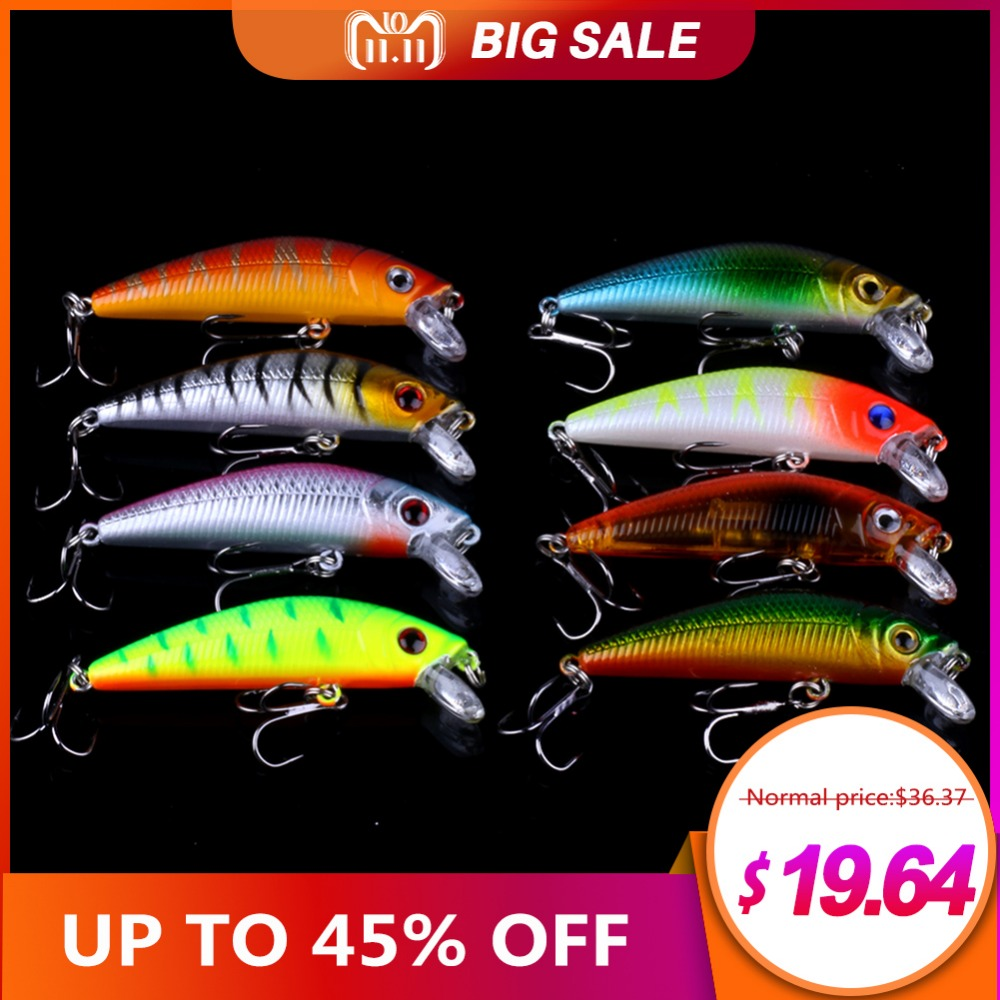 56PCS Fishing Lures Set Mixed Minnow Lot Lure Bait Crankbait Tackle Bass Fishing Wobblers Suitable For Different Kinds Of Fishes 56pcs lot mixed fishing lures bass baits crankbaits fish hooks tackle xg 2017 new fishing lure minnow