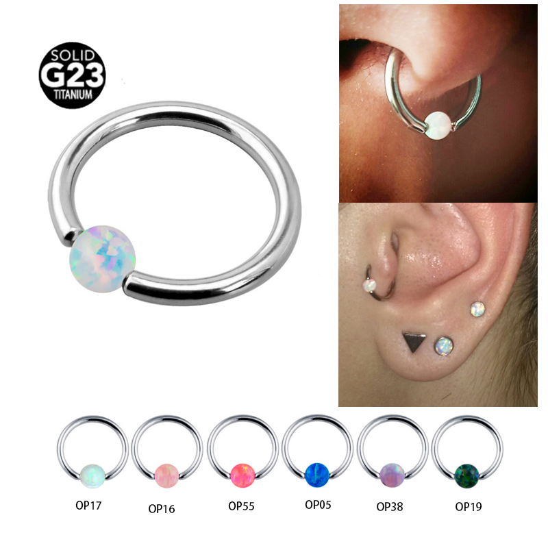 1Pc 1.0 * 8mm Opal Stone Captive Bead Ring Piercings Nose Rings Gauges Septum Clickers Nipple Lip Earring Tragus Body Jewelry