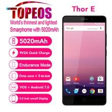 Vernee Тор E 4 г 5020 мАч большой Батарея мобильного телефона Octa core android 7.0 3 ГБ Оперативная память 16 ГБ Встроенная память 5.0 дюймов IPS HD 8MP отпечатков пальцев телефон