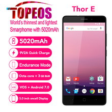 Vernee Thor E 4G 5020 mAh Grosse Batterie Mobile Téléphone Octa base Android 7.0 3 GB RAM 16 GB ROM 5.0 pouce IPS HD 8MP D'empreintes Digitales Téléphone