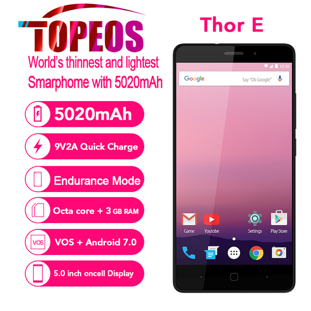 Vernee Thor E 4G 5020mAh Big Battery Mobile Phone Octa Core Android 7.0 3GB RAM 16GB ROM 5.0 inch IPS HD 8MP Fingerprint Phone