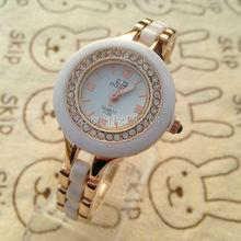 Shining Rhinestone Watch Hot White with Rose gold Band watch Women clock Round Analog Quartz watches Fashion Lady Dress Watches